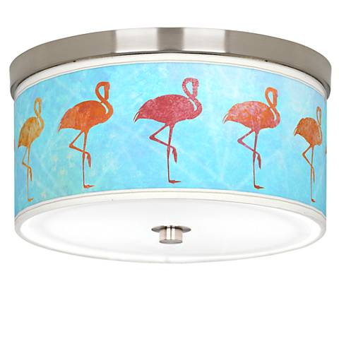 "Flamingo Shade Giclee Nickel 10 1/4"" Wide Ceiling Light"