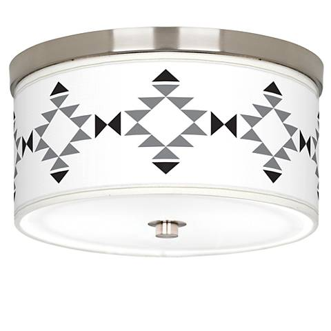 "Desert Grayscale Giclee Nickel 10 1/4"" Wide Ceiling Light"