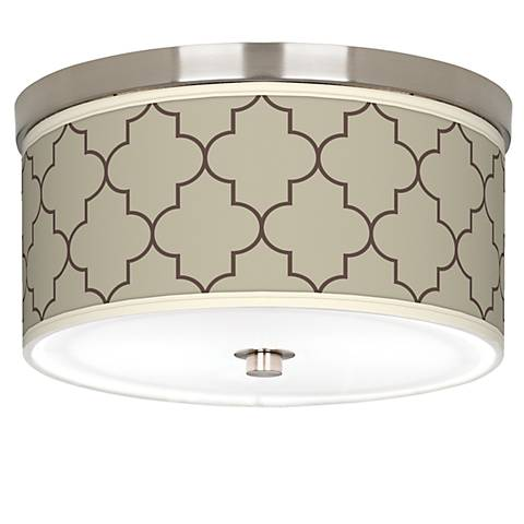"Tangier Taupe Giclee Nickel 10 1/4"" Wide Ceiling Light"