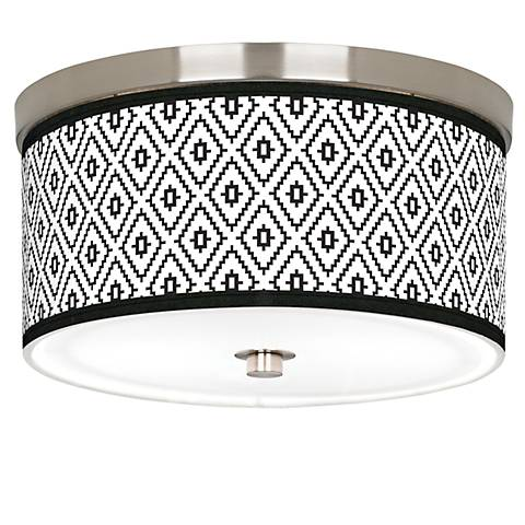"Black Diamonds Giclee Nickel 10 1/4"" Wide Ceiling Light"