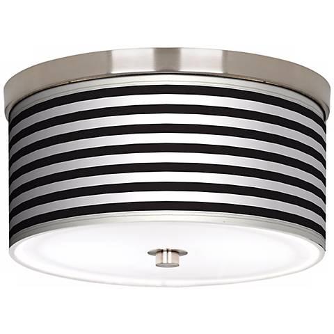 "Black Horizontal Stripe Nickel 10 1/4"" Wide Ceiling Light"