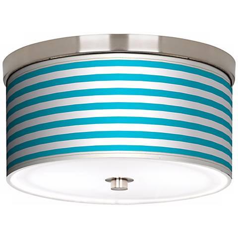 "Aqua Horizontal Stripe Nickel 10 1/4"" Wide Ceiling Light"