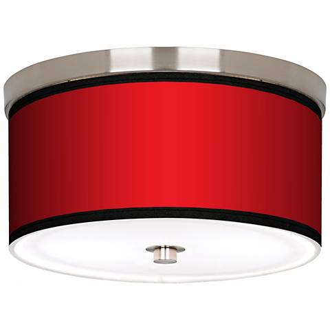 "All Red Nickel 10 1/4"" Wide Ceiling Light"
