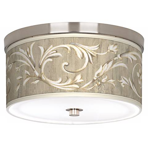 "Laurel Court Giclee Nickel Finish 10 1/4"" Wide Ceiling Light"