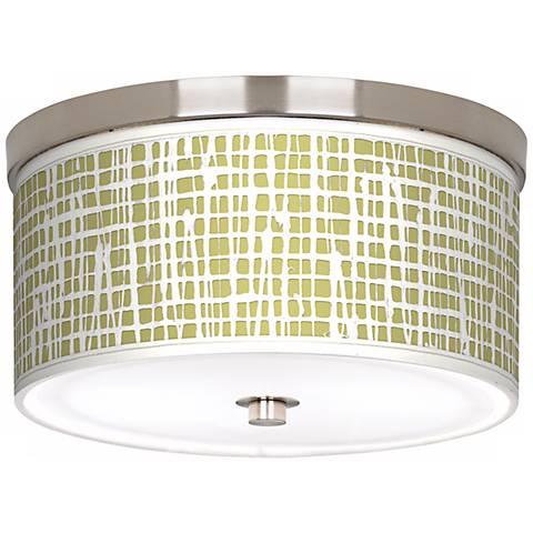 "Ecru Screen Linen Nickel 10 1/4"" Wide Ceiling Light"