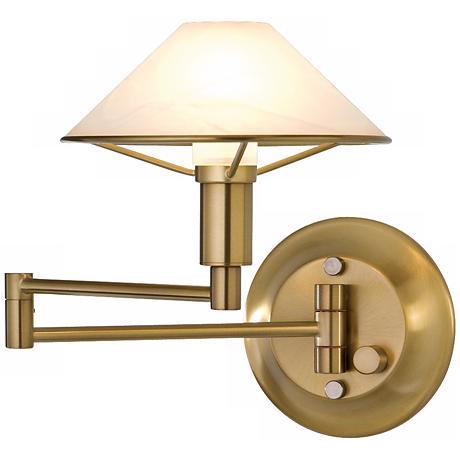 Holtkoetter Antique Brass Glass Swing Arm Wall Lamp