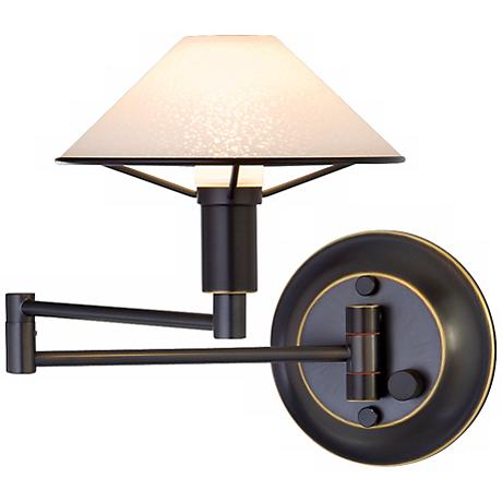 Oil Rubbed Bronze Satin White Glass Swing Arm Wall Lamp