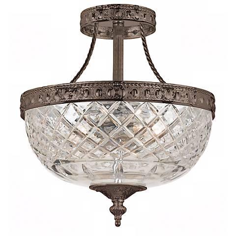 "Crystorama Majestic Bronze 10"" Wide Semiflush Ceiling Light"