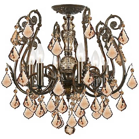 Crystorama Regis Bronze Amber Ceiling Light