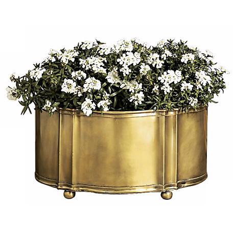 "Antique Brass Finish 13"" Wide Planter"
