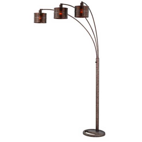 three light arc rust floor lamp k1116 lamps plus. Black Bedroom Furniture Sets. Home Design Ideas