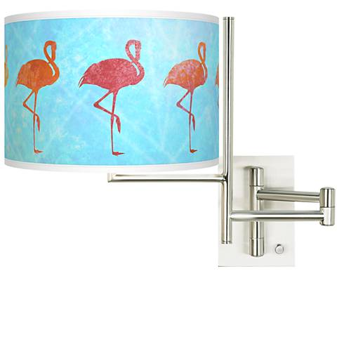 Tempo Flamingo Shade Plug-in Swing Arm Wall Lamp