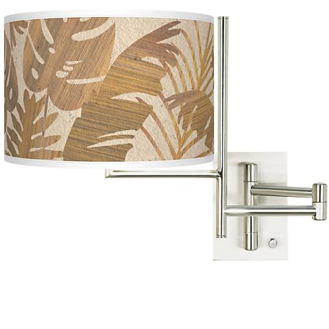 Tempo Tropical Woodwork Plug-in Swing Arm Wall Lamp