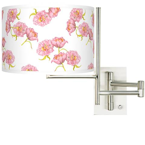 Tempo Pretty Peonies Plug-in Swing Arm Wall Lamp