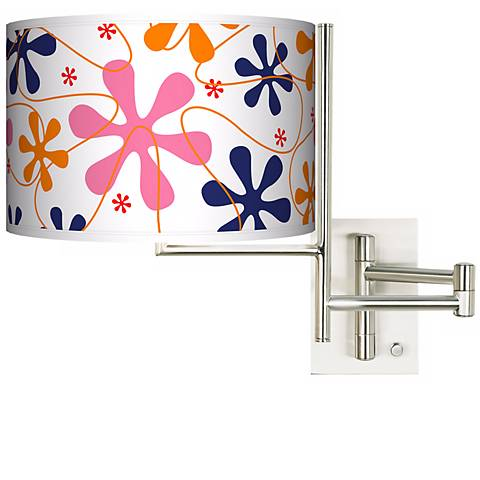 Tempo Retro Pink Plug-In Swing Arm Wall Light