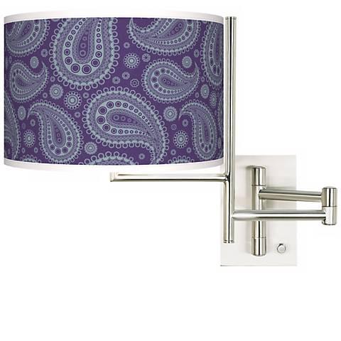 Purple Paisley Linen Giclee Steel Plug-In Swing Arm Wall Light
