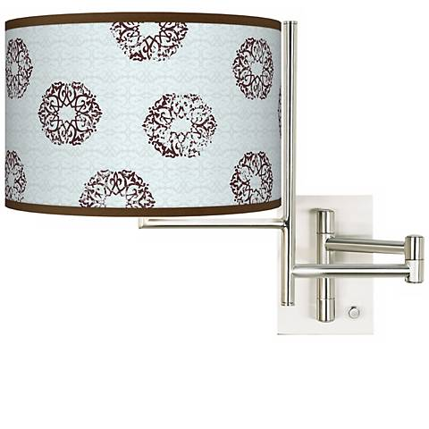 Weathered Medallion Giclee Metal Plug-In Swing Arm Wall Light