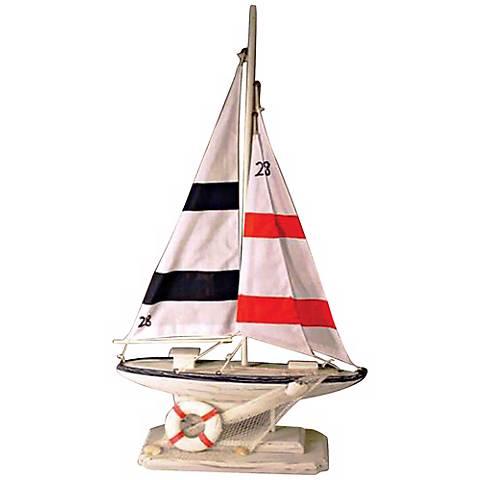 """Newport Sloop 23"""" High Sailing Boat Decorative Accent"""