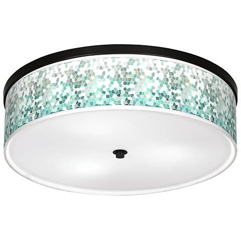 "Aqua Mosaic Giclee 20 1/4"" Wide Ceiling Light"