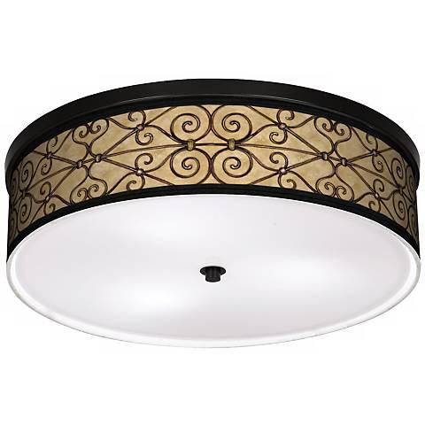 "Trellis Hearts 20 1/4"" Wide CFL Bronze Ceiling Light"