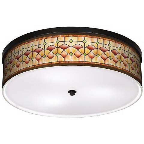 "Tiffany Ochre 20 1/4"" Wide CFL Bronze Ceiling Light"