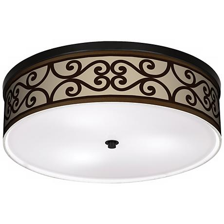 """Cambria Scroll 20 1/4"""" Wide CFL Bronze Ceiling Light"""