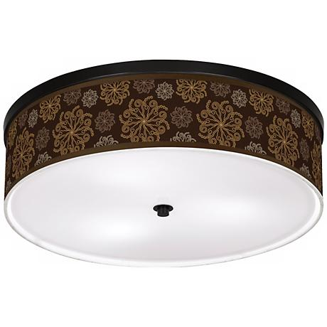 """Chocolate Blossom Linen 20 1/4"""" Wide CFL Ceiling Light"""