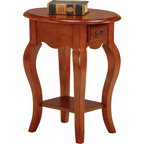 Favorite Finds Brown Cherry Finish Oval Side Table