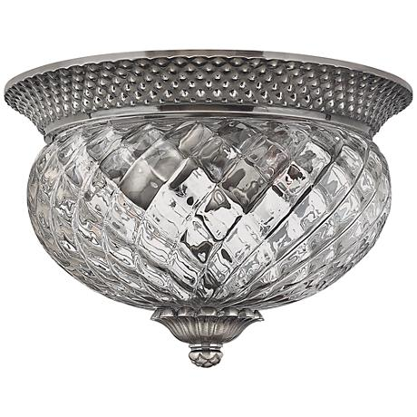 """Plantation Collection Antique Nickel 12"""" Wide Ceiling Light"""