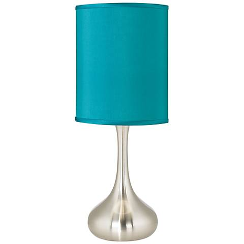 Teal Blue Faux Silk Droplet Table Lamp