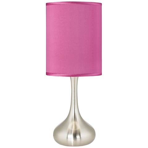 Pink Orchid Faux Silk Droplet Table Lamp