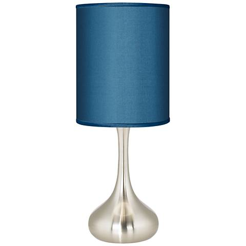 "Blue Faux Silk 23 1/2"" High Droplet Table Lamp"