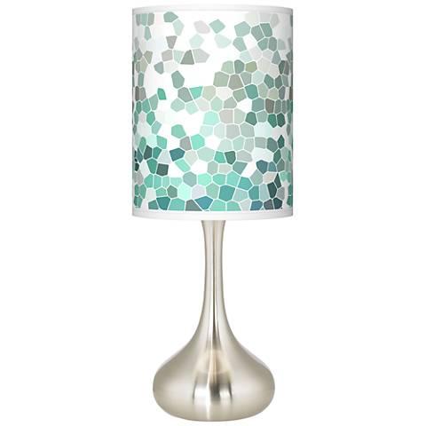 Aqua Mosaic Giclee Droplet Table Lamp