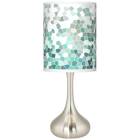 Aqua mosaic giclee droplet table lamp k3334 9d508 lamps plus - Artistic d lamp shade designed with modern and elegant shape style ...