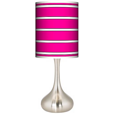 Bold Pink Stripe Giclee Droplet Table Lamp