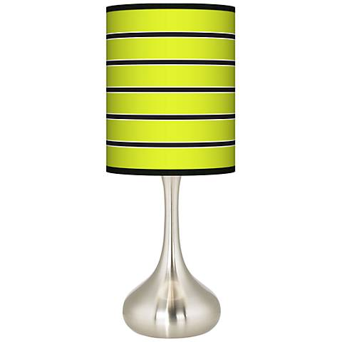 Bold Lime Green Stripe Giclee Droplet Table Lamp - Bold Lime Green Stripe Giclee Paley Black Table Lamp - #N5714