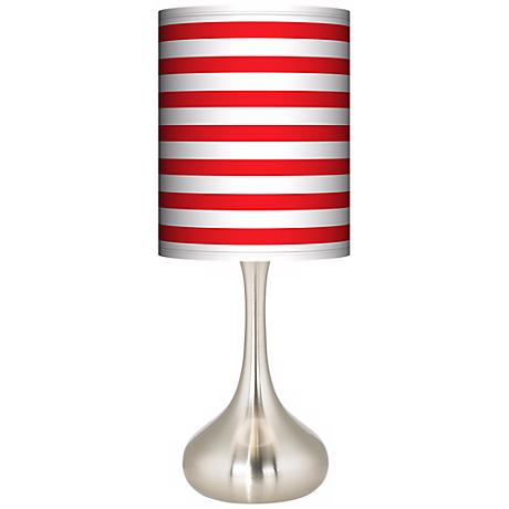 Red Horizontal Stripe Giclee Droplet Table Lamp