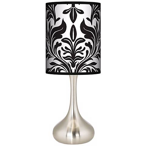 Black Tapestry Giclee Droplet Table Lamp