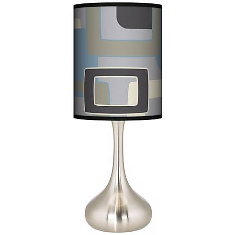 Retro Lithic Rectangles Giclee Droplet Table Lamp