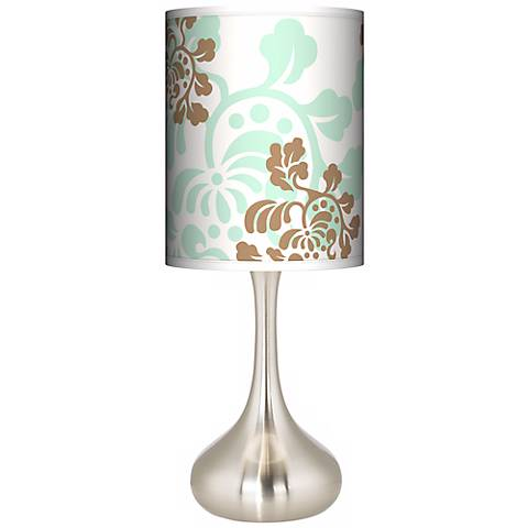 Classic Mist & Taupe Giclee Droplet Table Lamp