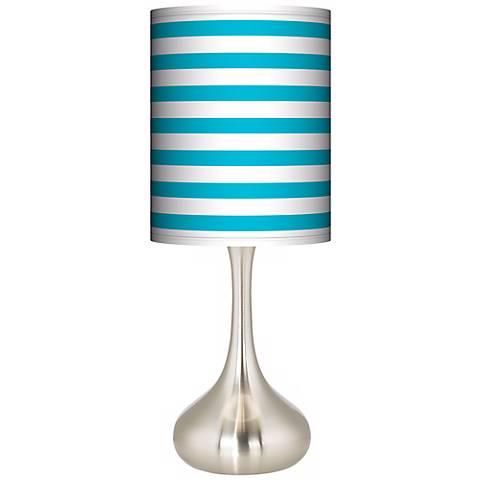 Aqua Horizontal Stripe Giclee Droplet Table Lamp