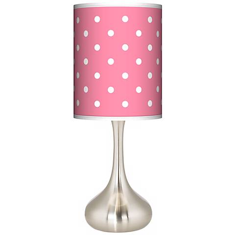 Mini Dots Pink Giclee Droplet Table Lamp