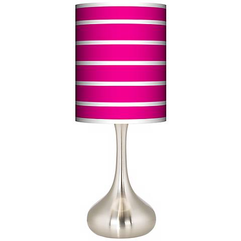 Vivid Pink Stripes Giclee Droplet Table Lamp