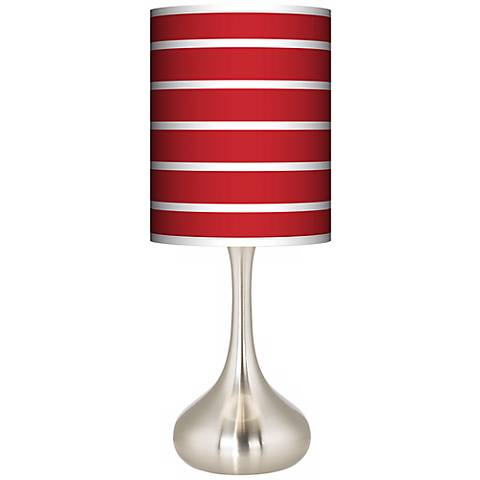 Vivid Red Stripes Giclee Droplet Table Lamp