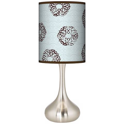 Weathered Medallion Giclee Shade Droplet Table Lamp