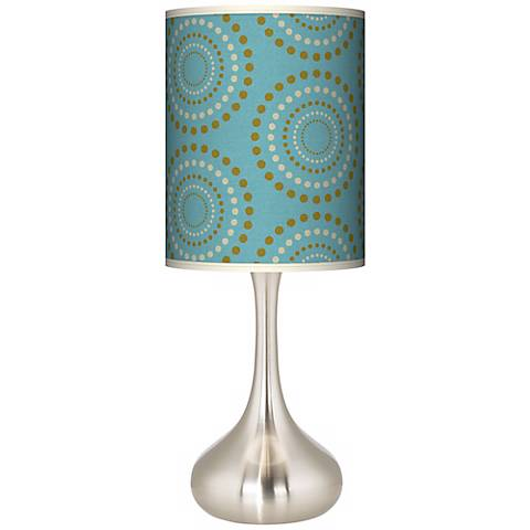 Blue Calliope Linen Giclee Pattern Droplet Table Lamp