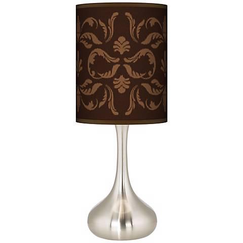 Mocha Flourish Linen Giclee Droplet Table Lamp