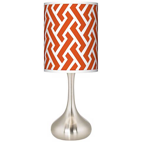 Red Brick Weave Giclee Droplet Table Lamp