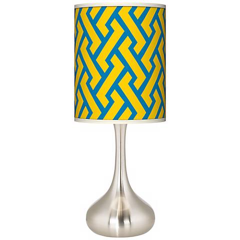 Yellow Brick Weave Giclee Droplet Table Lamp