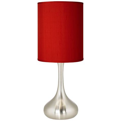 China Red Textured Silk Brushed Steel Droplet Table Lamp